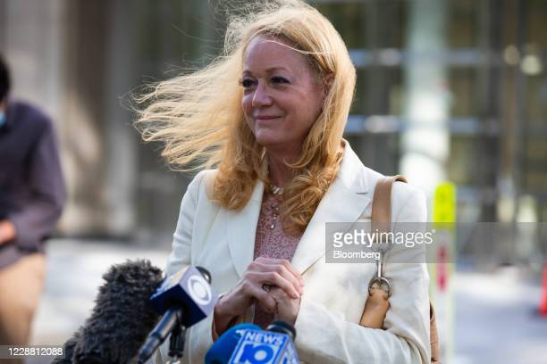 Barbara Bouchey, a former member of the NXIVM group, speaks to members of the media outside federal court in the Brooklyn borough of New York, U.S.,...