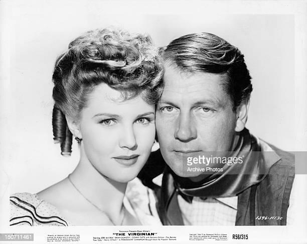 Barbara Britton and Joel McCrea publicity portrait for the film 'The Virginian' 1946