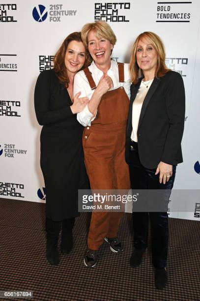Barbara Broccoli 20th Century Fox Film Chairman and CEO Stacey Snider and Emma Thompson attend a cocktail reception hosted by 20th Century Fox to...