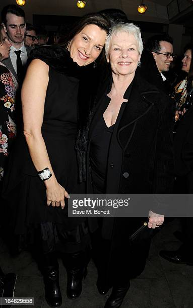 Barbara Broccoli and Dame Judi Dench attend an after party following the press night performance of 'Peter And Alice' at The National Cafe on March...