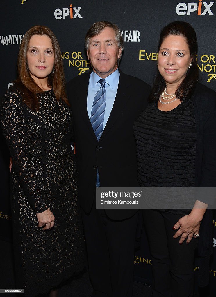 Barbara Broccoli, EPIX CEO Mark Greenberg and Hillary Saltzman attend EPIX Presents the Premiere screening of 'Everything or Nothing: The Untold Story of 007' at MOMA on October 3, 2012 in New York City.