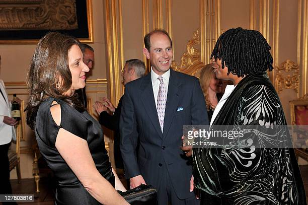 Barbara Broccoli Prince Edward Earl of Wessex and Whoopi Goldberg attend a Royal Reception for 'Films without Borders' at Windsor Castle on May 9...