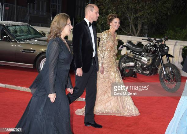 """Barbara Broccoli, Prince William, Duke of Cambridge, and Catherine, Duchess of Cambridge attend the World Premiere of """"No Time To Die"""" at the Royal..."""
