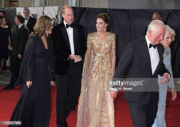 Barbara Broccoli, Prince William, Duke of Cambridge,, Catherine, Duchess of Cambridge, Charles, Prince of Wales and Camilla, Duchess of Cornwall...