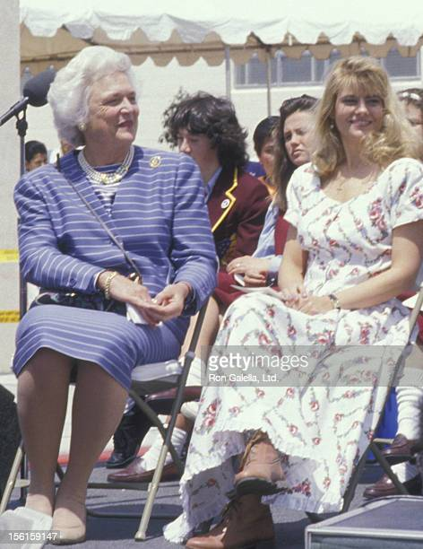 Barbara Bush and actress Lisa Whelchel attend Facts Of Life And Literary Rally on May 5 1988 in Hollywood California