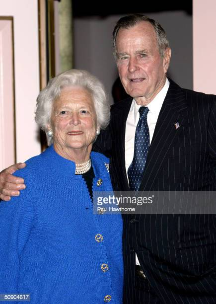 Barbara Bush and former President George H W Bush pose for photographers before the start of the 29th Annual TJ Martell Foundation Awards Gala at the...