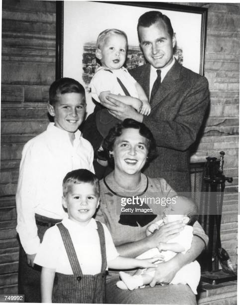 Barbara Bush and George Bush pose with children Neil Bush George W Bush Jeb Bush and Marvin Bush in 1956 George W Bush is currently campaigning for...