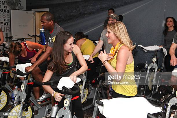 Barbara Bush and Jenna Bush Hager host SoulCycle charity ride to benefit the Global Health Corps on February 29, 2012 in West Hollywood, California.
