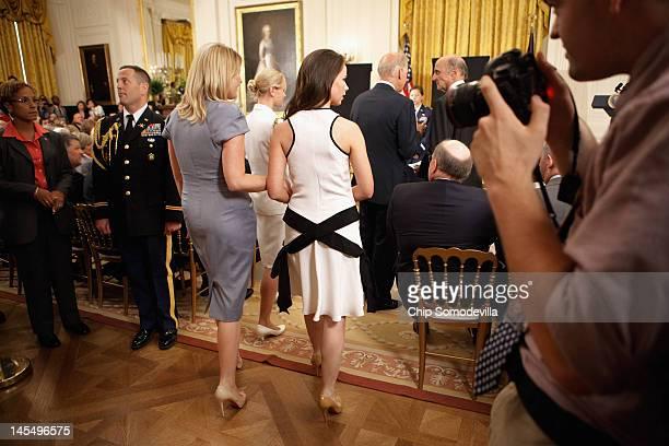 Barbara Bush and twin sister Jenna BushHager daughters of former US President George HW Bush arrive for the unveiling of former President Bush's...