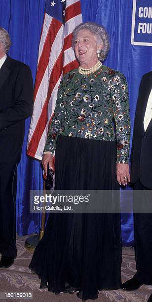 Barbara Bush attends Appeal Of Conscience Gala on October 18 1989 at the Pierre Hotel in New York City