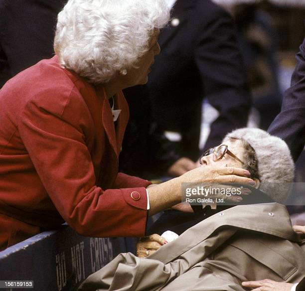 Barbara Bush attends Columbus Day Parade on October 8 1984 in New York City