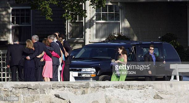 Barbara Bush daughter of US President George W Bush walks up to join a family photo after a family wedding in Kennebunkport Maine 26 August 2006 AFP...