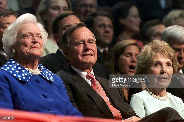 Barbara Bush George Bush and Nancy Reagan listen to speakers during the second day of the Republican National Convention August 1 2000 in Philadelphia