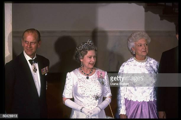 Barbara Bush hosting Queen Elizabeth II resplendent jeweled tiara sparkling baubles Prince Philip at WH State Dinner