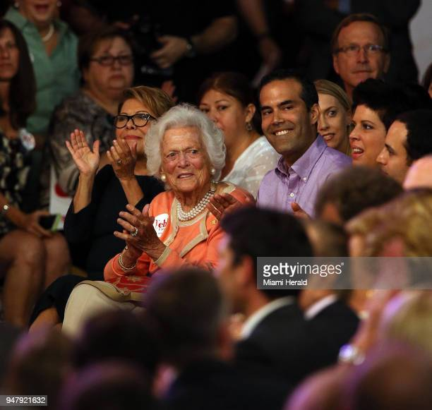 Barbara Bush middle cheers as former Florida Gov Jeb Bush announces his candidacy for president on June 15 in Kendall Fla