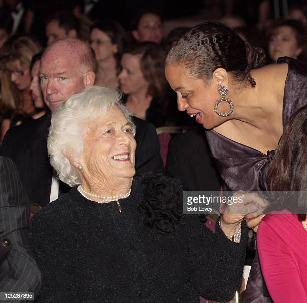 Barbara Bush talks with designer Toni Whitaker on the front row as they await for their granddaughter designer Lauren Bush to show her collection on...