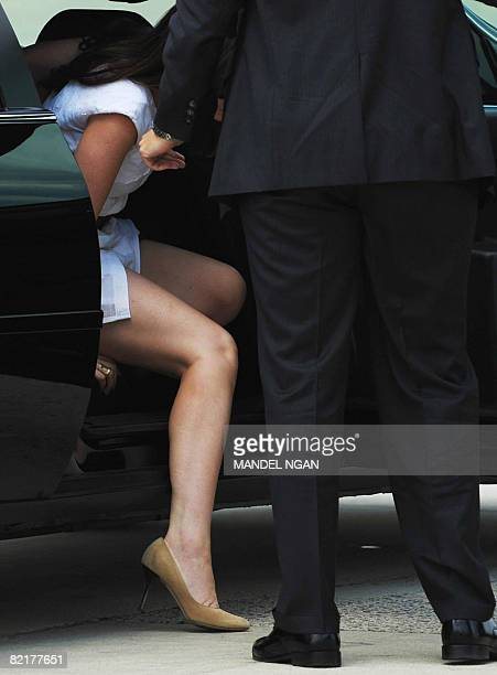 Barbara Bush the daughter of US President George W Bush steps out of a limo to board Air Force One August 4 2008 at Andrews Air Force Base in...