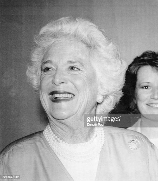 Barbara Bush wife of President elect George Bush smiles in Los Angeles in a 1988 photo from files 1989 Credit The Denver Post