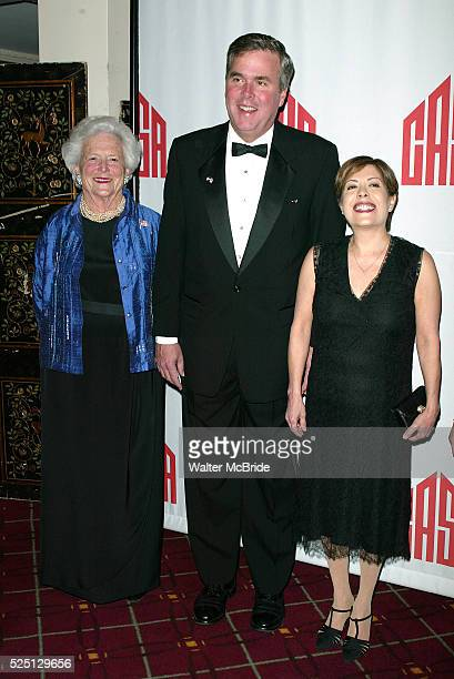Barbara Bush with son Governor Jeb Bush and his wife Columbia Bush attend CASA'S Eleventh Anniversary Awards Dinner Honors American Leadership in...