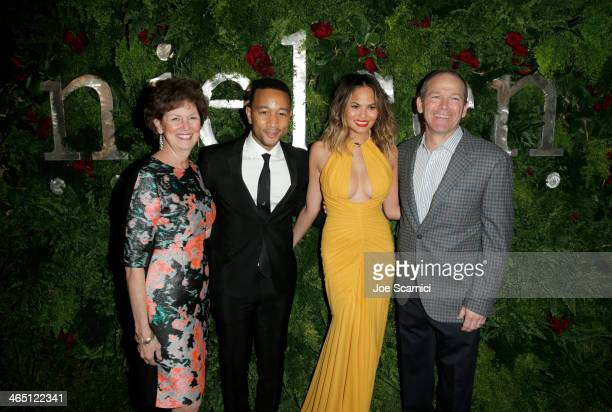 Barbara Calhoun singer/songwriter John Legend model Christine Teigen and Dave Calhoun Executive Chairman Nielsen attend the Nielsen PreGRAMMY Party...