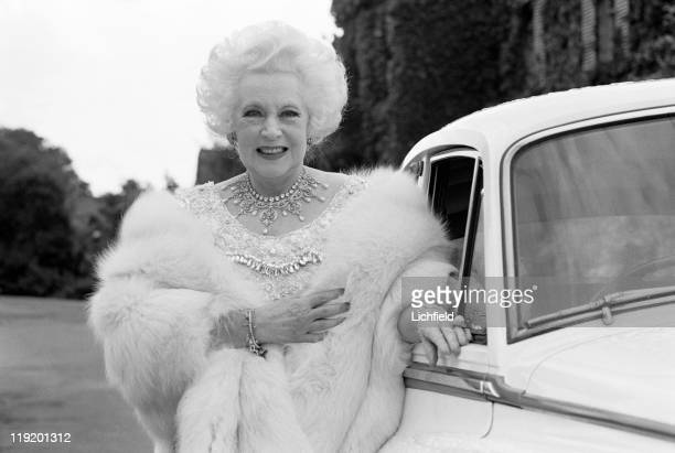 Barbara Cartland, At home at Camfield House, Hatfield, Hertfordshire, 20th July 1977.