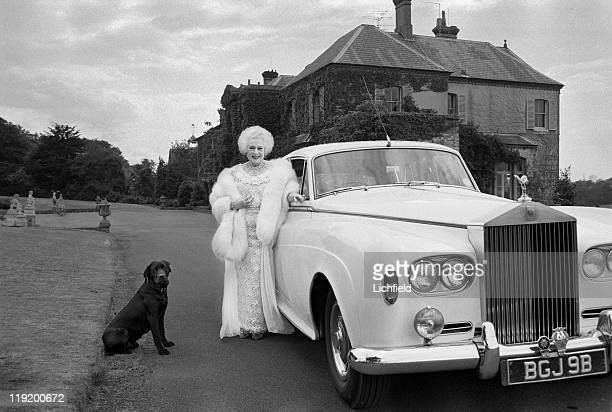 Barbara Cartland with a Rolls Royce, At home at Camfield House, Hatfield, Hertfordshire, 20th July 1977.