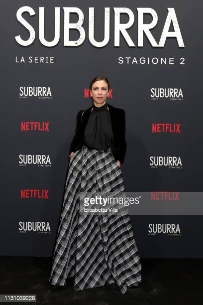 Barbara Chichiarelli attends the after party for Netflix Suburra The Series season 2 launch at Circolo Degli Illuminati on February 20 2019 in Rome...
