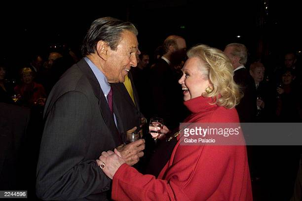 Barbara Cook and Mike Wallace 60 Minutes at the opening night party following her performance in Mostly Sondheim at Lincoln Center in New York City...