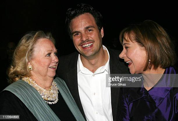 Barbara Cook Mark Ruffalo and Zoe Wanamaker during 'Awake and Sing' Opening Night After Party at Marriott Marquis Ballroom in New York City New York...
