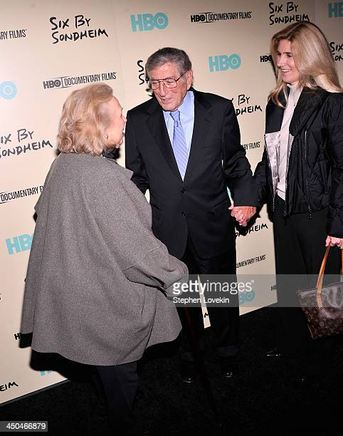 Barbara Cook Tony Bennett and Susan Benedetto attend HBO's New York Premiere of Six by Sondheim at Museum of Modern Art on November 18 2013 in New...