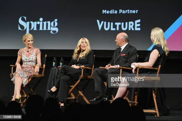 Barbara Corcoran Lori Greiner and Kevin O'Leary speak onstage during the Tribeca Talks Panel 10 Years Of Shark Tank during the 2018 Tribeca TV...