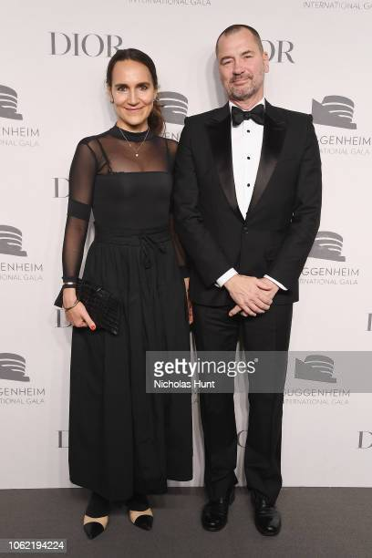 Barbara Corti and guest attend the Guggenheim International Gala Dinner made possible by Dior at Solomon R Guggenheim Museum on November 15 2018 in...