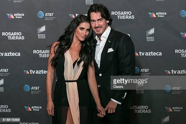 Barbara de Regil and Fernando Shwoenbel pose at the premiere of 'Rosario Tijeras' TV series for TV Azteca on October 27 2016 in Mexico City Mexico