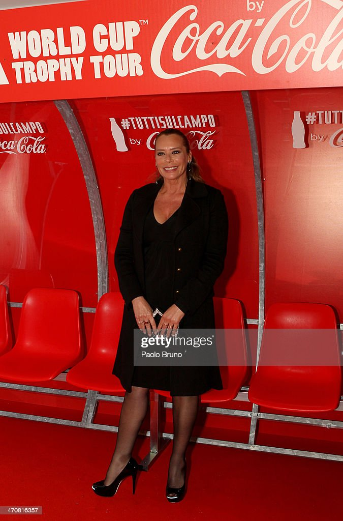 Barbara De Rossi attends a party during day two of the FIFA World Cup Trophy Tour on February 20, 2014 in Rome, Italy.