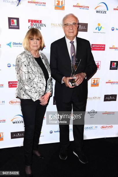 Barbara Dickmann and Fritz Pleitgen attend the 'Goldene Sonne 2018' Award by SonnenklarTV on April 7 2018 in Kalkar Germany