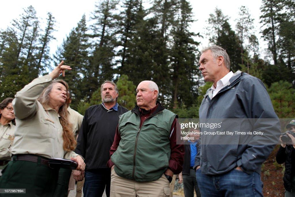 U.S. Secretary Sonny Perdue and Ryan Zinke visit Camp Fire : News Photo