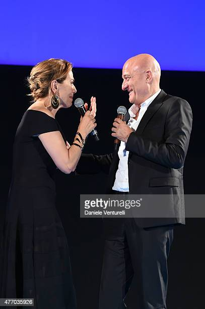 Barbara d'Urso and Claudio Bisio attend Day 1 of the 61th Taormina Film Fest on June 13 2015 in Taormina Italy