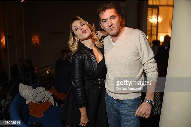 Barbara d'Urso and Teo Mammucari attend CONFUSI E FELICI Dinner Party at Caruso at Grand Hotel Et De Milan on October 28 2014 in Milan Italy