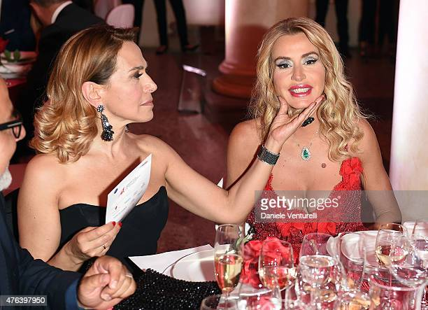 Barbara D'Urso and Valeria Marini attend Prince Albert II Of Monaco Foundation Gala Dinner on June 8 2015 in Milan Italy