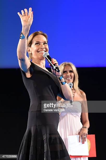 Barbara d'Urso attends Day 1 of the 61th Taormina Film Fest on June 13 2015 in Taormina Italy