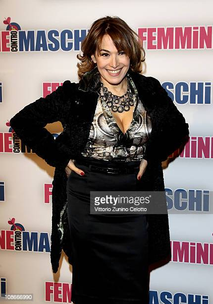 Barbara D'Urso attends the Femmine Contro Maschi premiere held at Cinema Odeon on January 31 2011 in Milan Italy