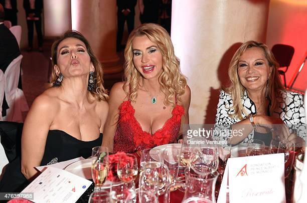 Barbara D'Urso Valeria Marini and Silvana Giacobini attend Prince Albert II Of Monaco Foundation Gala Dinner on June 8 2015 in Milan Italy