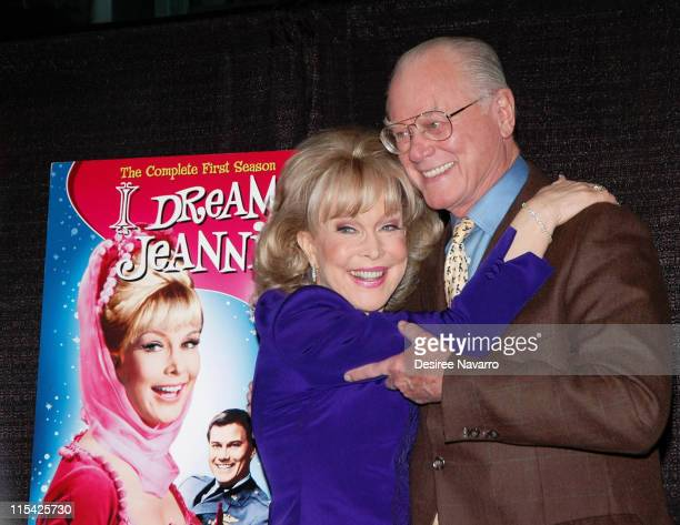 Barbara Eden and Larry Hagman during Barbara Eden Larry Hagman Sign I Dream Of Jeannie DVD March 15 2006 at Barnes Noble in New York City New York...