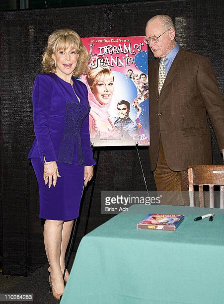 Barbara Eden and Larry Hagman during Larry Hagman and Barbara Eden Sign I Dream of Jeanie DVD at BN in New York City March 15 2005 at Barnes and...