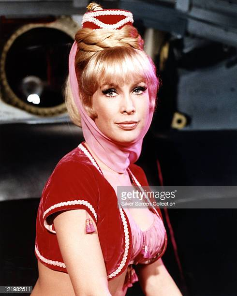 Barbara Eden US actress in costume in a publicity portrait for the US television series 'I Dream of Jeannie' circa 1967 The sitcom starred Eden as...