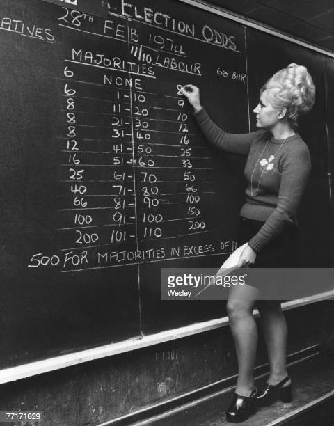 Barbara Elson of bookmakers William Hill chalks up the betting odds on majorities in the forthcoming general election 7th February 1974 The firm made...