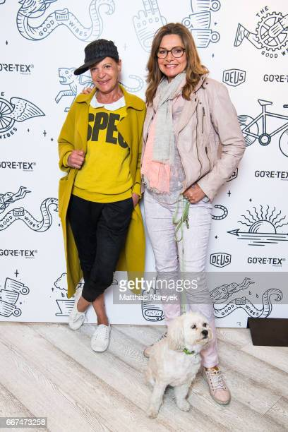 Barbara Engel and Maren Gilzer attend the opening of the 'Good Wibes Bike Bar' to present the new ebike by Woolrich Deus at the Woolrich Store on...