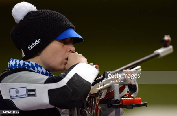 Barbara Engleder of Germany in action during the Women's 50m Rifle 3 Positions Final on day eight of the ISSF Shooting World Cup LOCOG Test Event for...