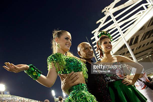 Barbara Evans and Paloma Bernardi posing for photos before her final practice performance Grande Rio Samba School from the Special Group practices...