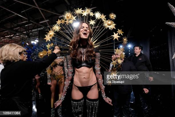 Barbara Fialho poses backstage during the 2018 Victoria's Secret Fashion Show at Pier 94 on November 8 2018 in New York City